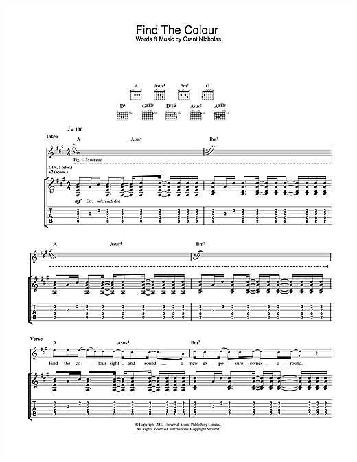 Feeder Find The Colour sheet music notes and chords