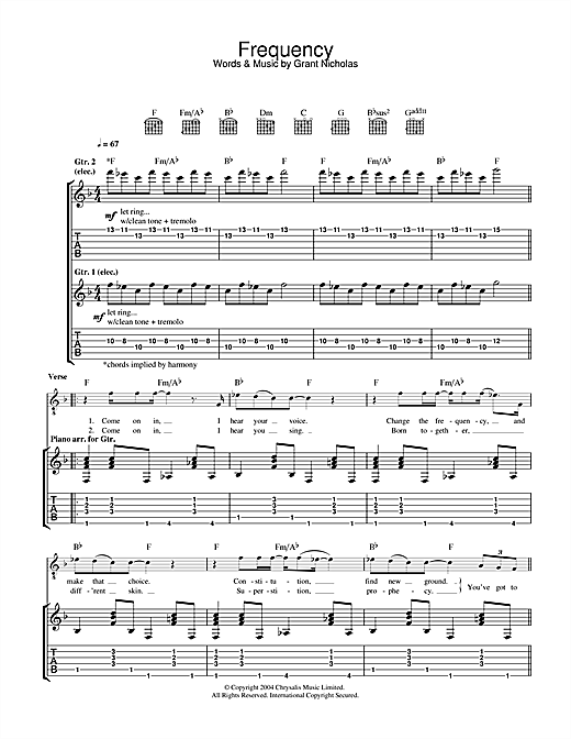 Feeder Frequency sheet music notes and chords. Download Printable PDF.