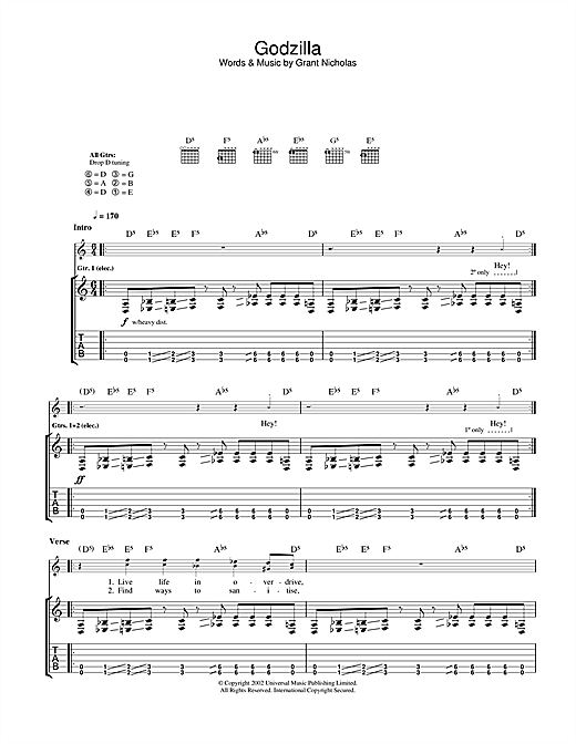Feeder Godzilla sheet music notes and chords