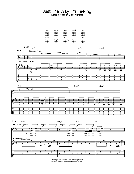 Feeder Just The Way I'm Feeling sheet music notes and chords. Download Printable PDF.
