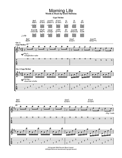 Feeder Morning Life sheet music notes and chords. Download Printable PDF.