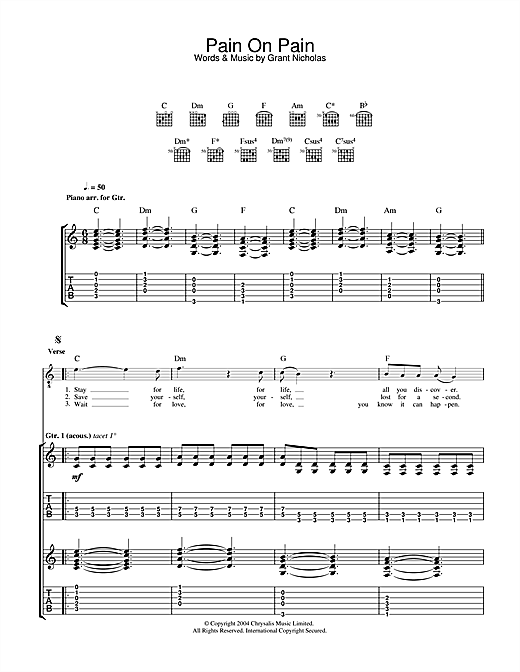 Feeder Pain On Pain sheet music notes and chords. Download Printable PDF.