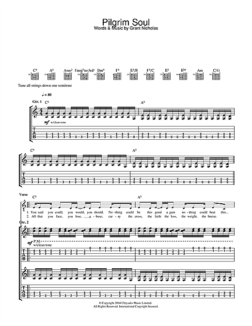 Feeder Pilgrim Soul sheet music notes and chords. Download Printable PDF.