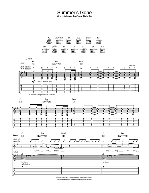 Feeder Summer's Gone sheet music notes and chords