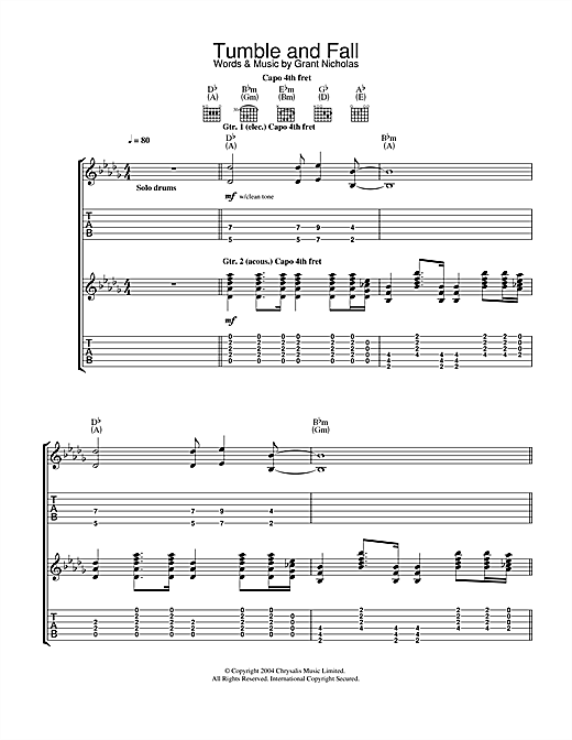 Feeder Tumble And Fall sheet music notes and chords