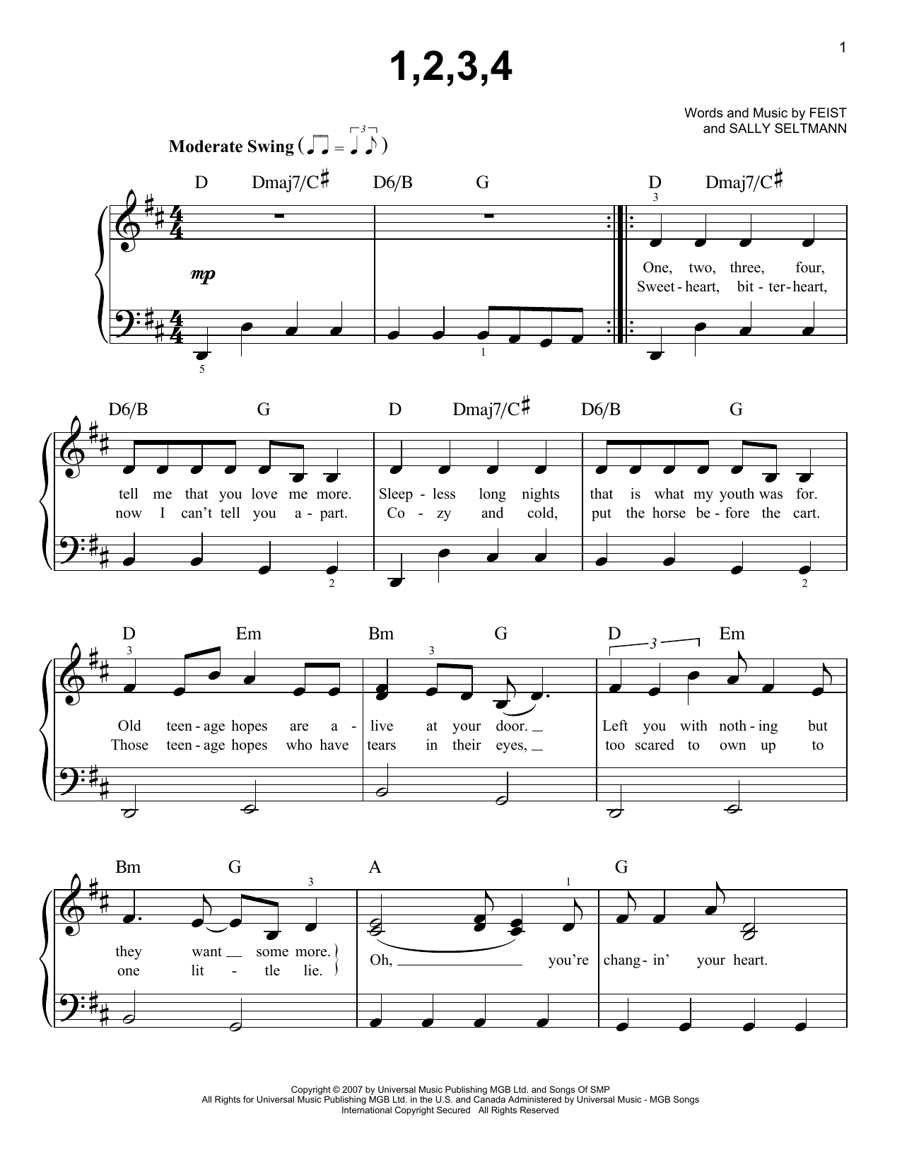Feist 1,2,3,4 sheet music notes and chords. Download Printable PDF.