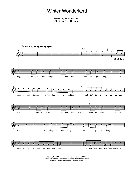 Felix Bernard Winter Wonderland (jazzy arrangement) sheet music notes and chords. Download Printable PDF.