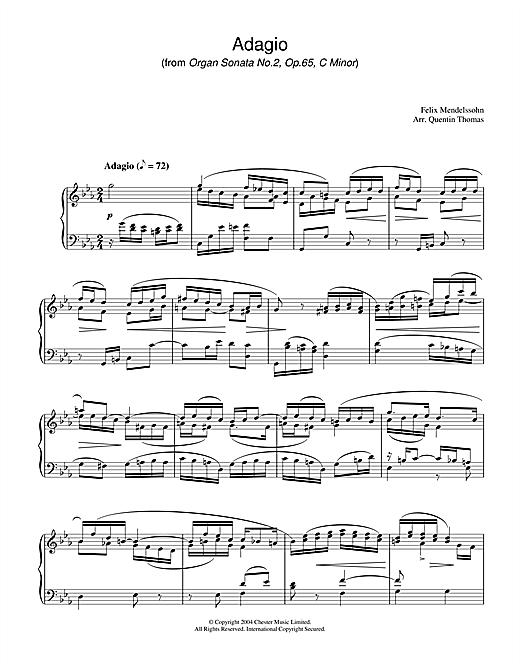 Felix Mendelssohn Adagio From Organ Sonata No.2, Op. 65 sheet music notes and chords. Download Printable PDF.