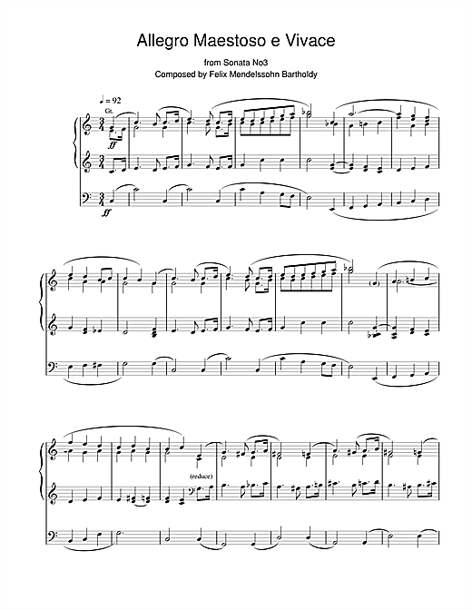 Felix Mendelssohn Allegro Maestoso e Vivace from Sonata No.3 sheet music notes and chords