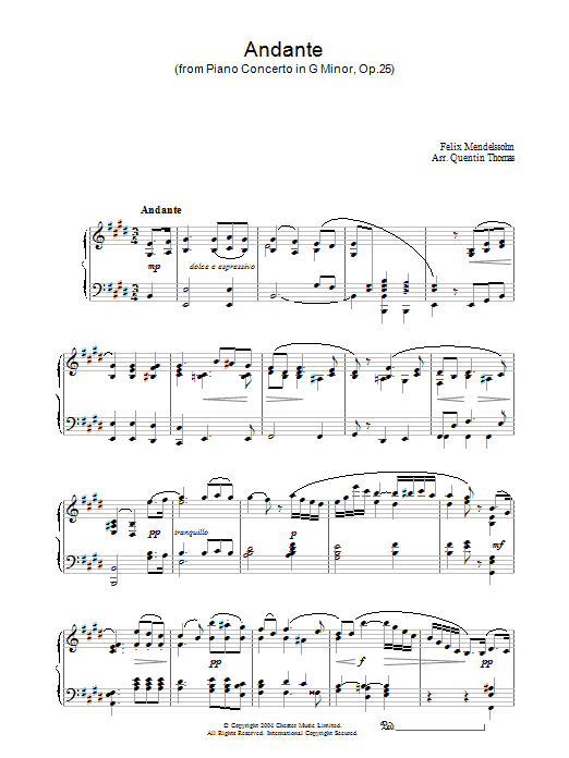 Felix Mendelssohn Andante From Piano Concerto In G Minor, Op. 25 sheet music notes and chords. Download Printable PDF.