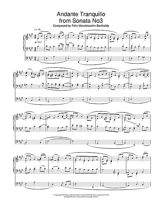 Felix Mendelssohn Andante Tranquillo from Sonata No.3 sheet music notes and chords