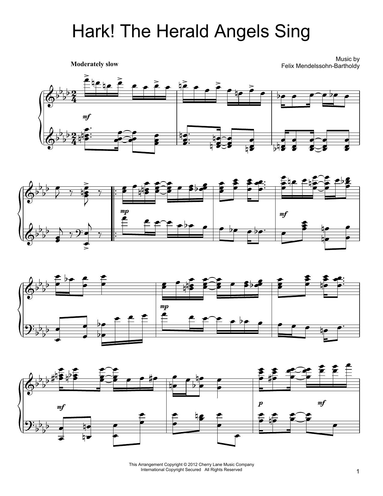 Felix Mendelssohn-Bartholdy Hark! The Herald Angels Sing [Ragtime version] sheet music notes and chords. Download Printable PDF.