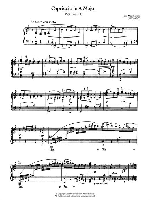 Felix Mendelssohn Capriccio In A Major sheet music notes and chords. Download Printable PDF.