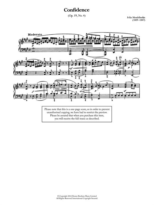 Felix Mendelssohn Confidence Op.19, No.4 sheet music notes and chords. Download Printable PDF.