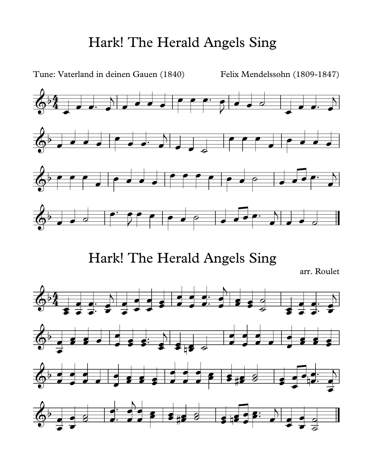 Felix Mendelssohn Hark The Harold Angels Sing (arr. Patrick Roulet) sheet music notes and chords. Download Printable PDF.