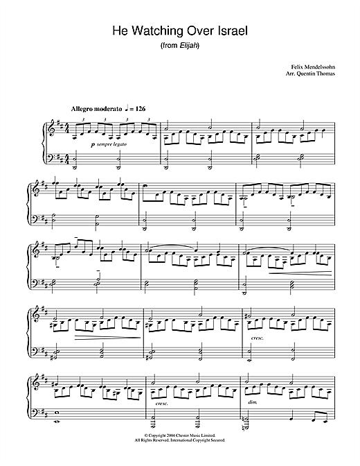 Felix Mendelssohn He Watching Over Israel (from Elijah) sheet music notes and chords. Download Printable PDF.