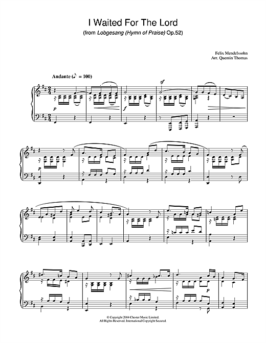 Felix Mendelssohn I Waited For The Lord sheet music notes and chords