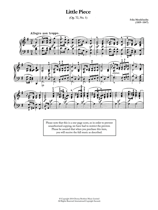 Felix Mendelssohn Little Piece, Op.72 No.1 sheet music notes and chords. Download Printable PDF.