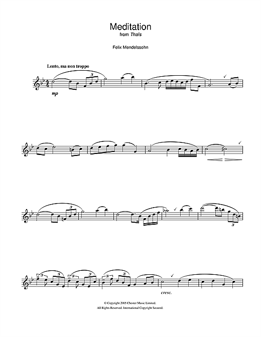 Felix Mendelssohn Meditation From Thais sheet music notes and chords. Download Printable PDF.