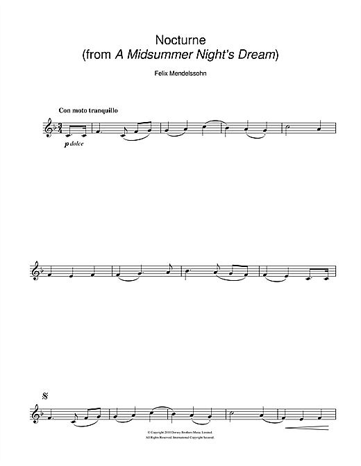 Felix Mendelssohn Nocturne (from A Midsummer Night's Dream) sheet music notes and chords. Download Printable PDF.