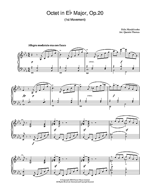 Felix Mendelssohn Octet in E Flat Major, Op.20 sheet music notes and chords. Download Printable PDF.