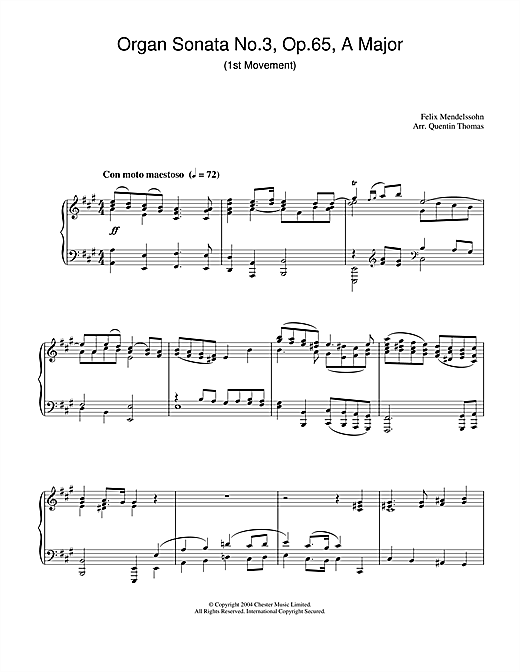 Felix Mendelssohn Organ Sonata No.3, Op.65, A Major sheet music notes and chords. Download Printable PDF.