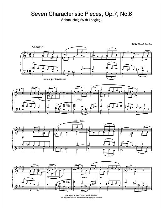 Felix Mendelssohn Seven Characteristic Pieces, Op.7, No.6 sheet music notes and chords. Download Printable PDF.