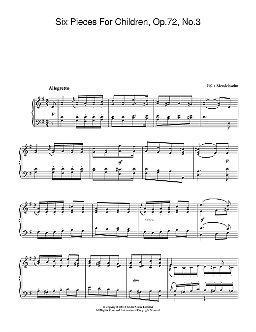 Felix Mendelssohn Six Pieces For Children, Op.72, No.3 sheet music notes and chords. Download Printable PDF.