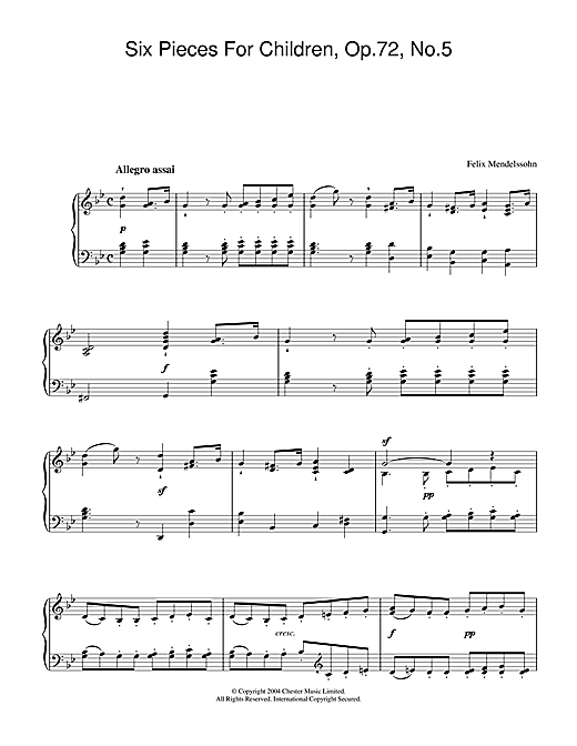 Felix Mendelssohn Six Pieces For Children, Op.72, No.5 sheet music notes and chords. Download Printable PDF.