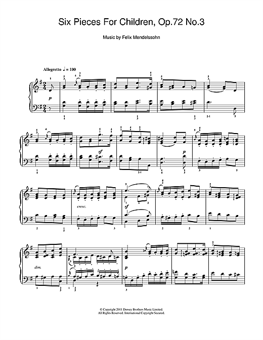 Felix Mendelssohn Six Pieces For Children, Op.72 No.3 sheet music notes and chords