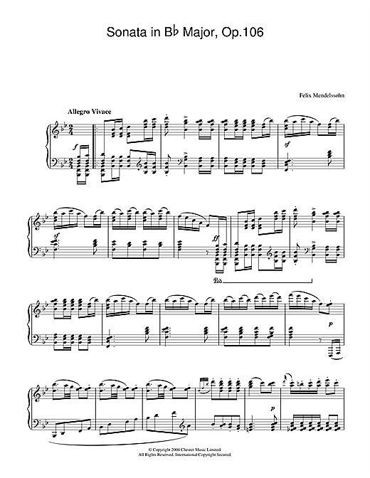 Felix Mendelssohn Sonata in B Flat Major, Op.106 sheet music notes and chords. Download Printable PDF.