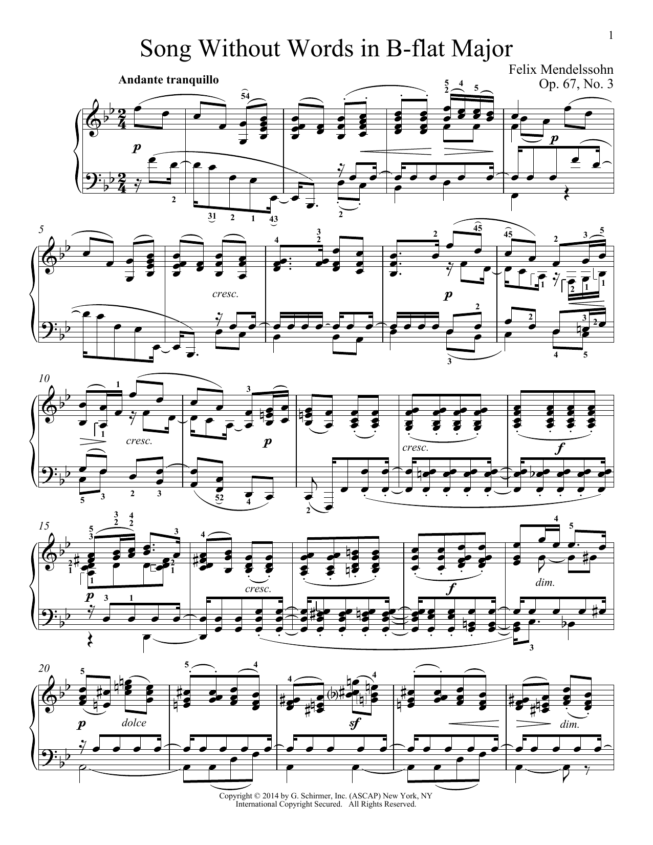Immanuela Gruenberg Song Without Words In B-Flat Major, Op. 67, No. 3 sheet music notes and chords. Download Printable PDF.