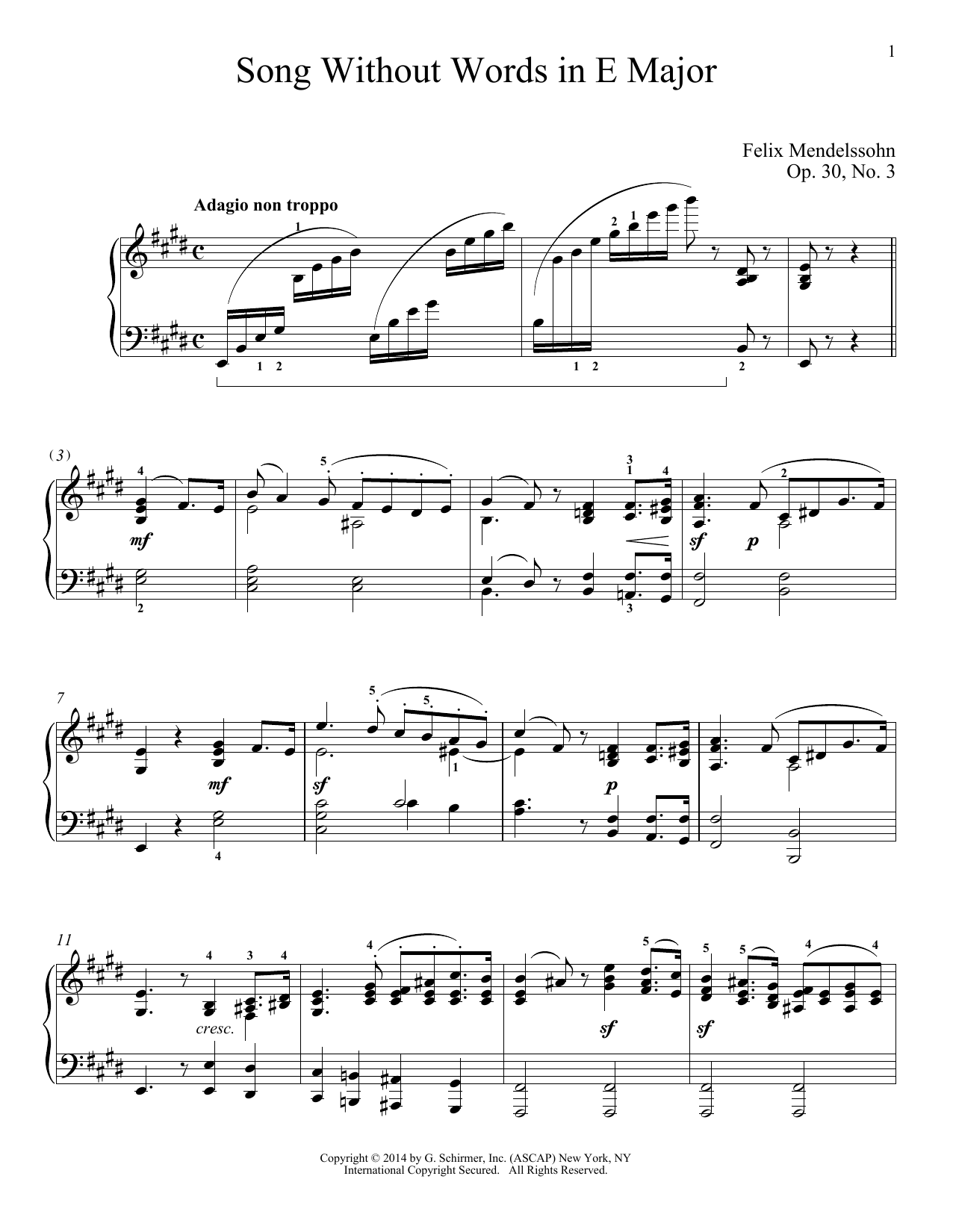 Immanuela Gruenberg Song Without Words In E Major, Op. 30, No. 3 sheet music notes and chords. Download Printable PDF.