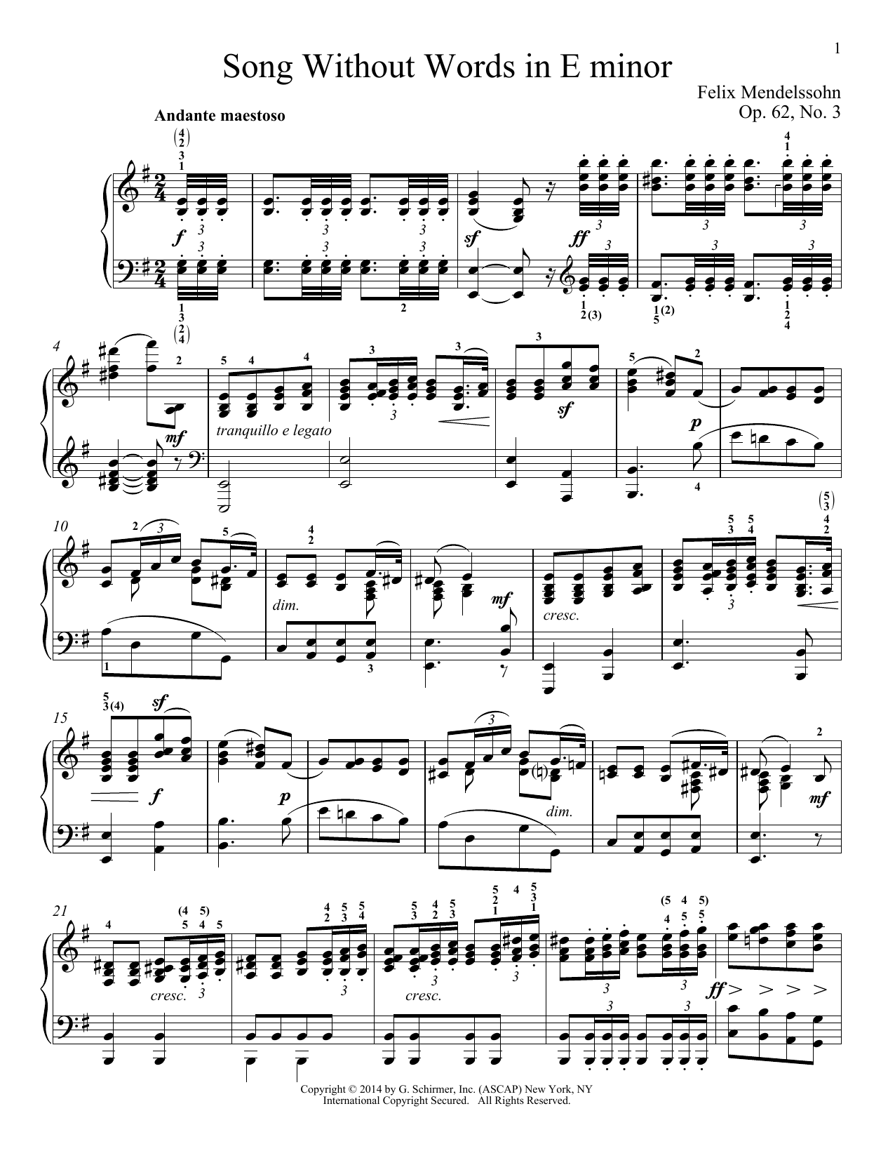 Immanuela Gruenberg Song Without Words In E Minor, Op. 52, No. 3 sheet music notes and chords. Download Printable PDF.