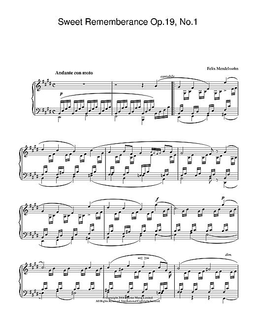 Felix Mendelssohn Sweet Rememberance Op.19, No.1 sheet music notes and chords. Download Printable PDF.