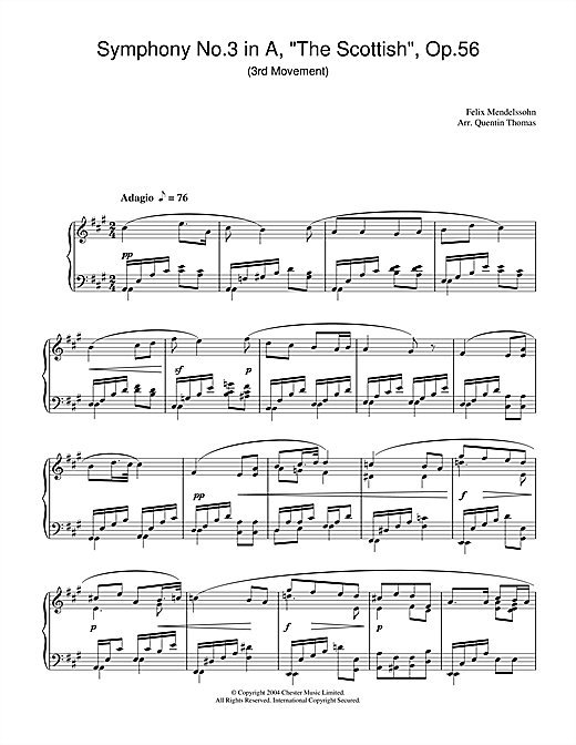 Felix Mendelssohn Symphony No.3 in A, 'The Scottish', Op.56 (3rd Movement) sheet music notes and chords. Download Printable PDF.