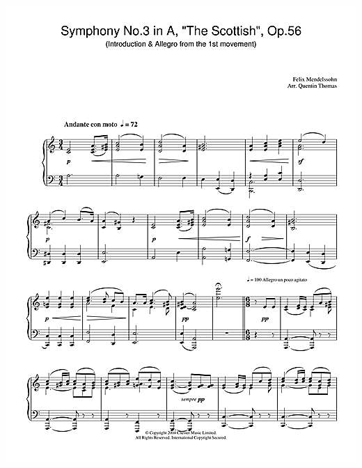 Felix Mendelssohn Symphony No.3 in A, 'The Scottish', Op.56 (Introduction & Allegro from the 1st movement) sheet music notes and chords. Download Printable PDF.