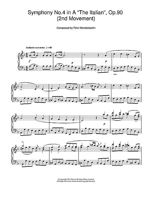 Felix Mendelssohn Symphony No.4 'The Italian' (2nd Movement: Andante Con Moto) sheet music notes and chords. Download Printable PDF.