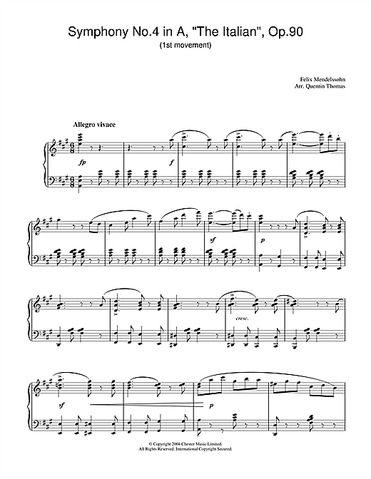 Felix Mendelssohn Symphony No.4 in A, 'The Italian', Op.90 (1st Movement) sheet music notes and chords. Download Printable PDF.