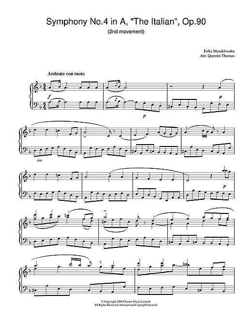 Felix Mendelssohn Symphony No.4 in A, 'The Italian', Op.90 (2nd Movement) sheet music notes and chords