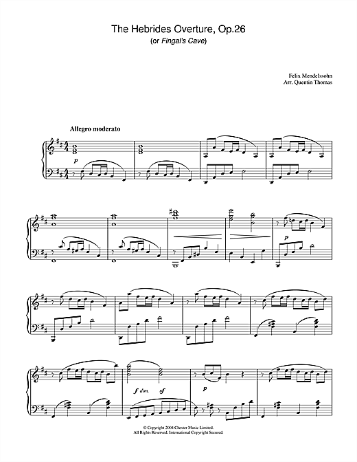 Felix Mendelssohn The Hebrides Overture, Op.26 sheet music notes and chords. Download Printable PDF.