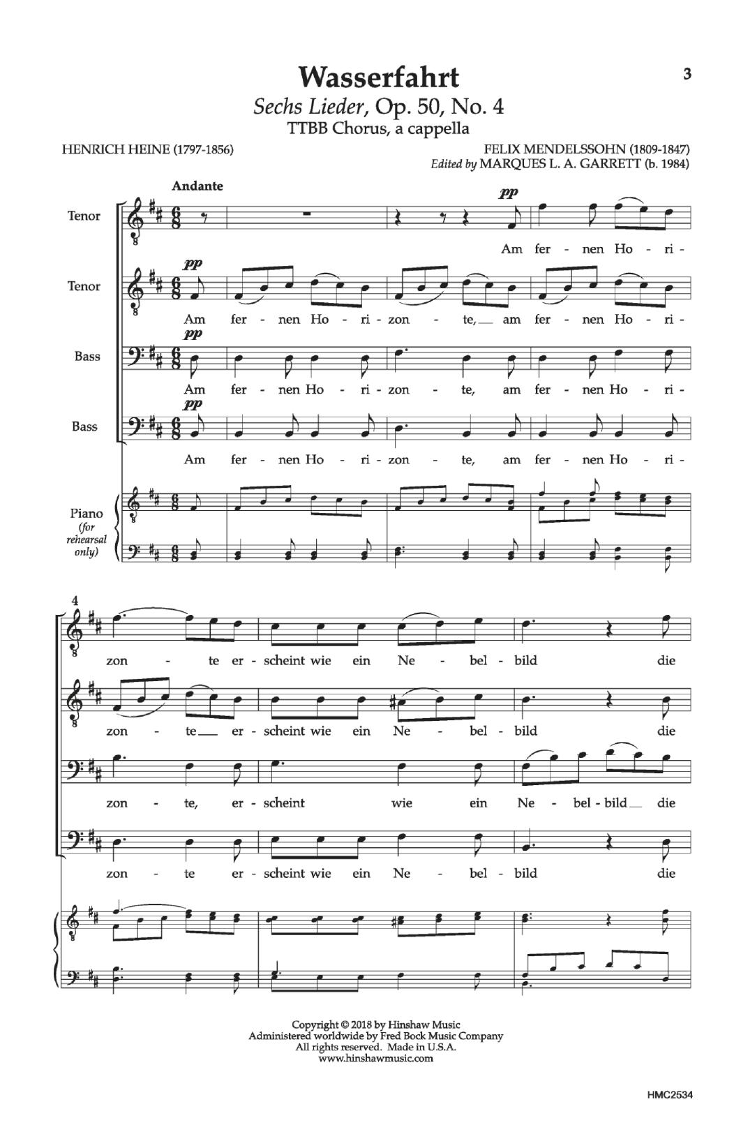 Felix Mendelssohn 'Wasserfahrt' Sheet Music Notes, Chords | Download  Printable TTBB Choir - SKU: 199499