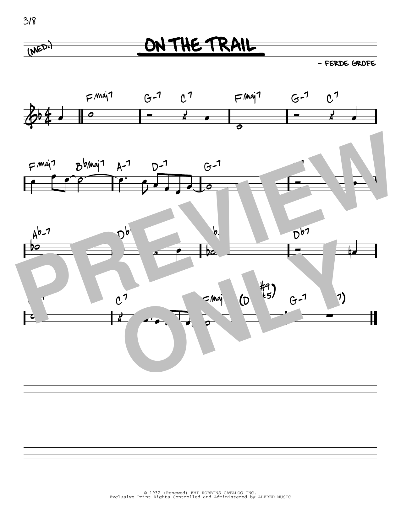 Ferde Grofe On The Trail sheet music notes and chords. Download Printable PDF.