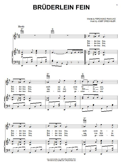 Josef Drechler Bruderlein Fein sheet music notes and chords. Download Printable PDF.