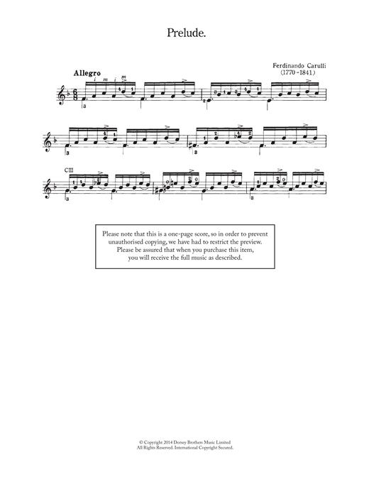 Ferdinando Carulli Prelude sheet music notes and chords. Download Printable PDF.