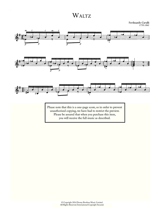 Ferdinando Carulli Waltz sheet music notes and chords. Download Printable PDF.