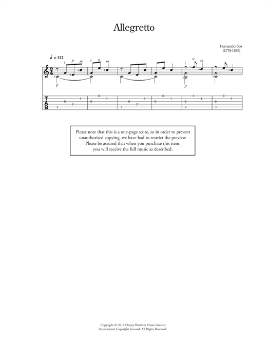 Fernando Sor Allegretto sheet music notes and chords. Download Printable PDF.