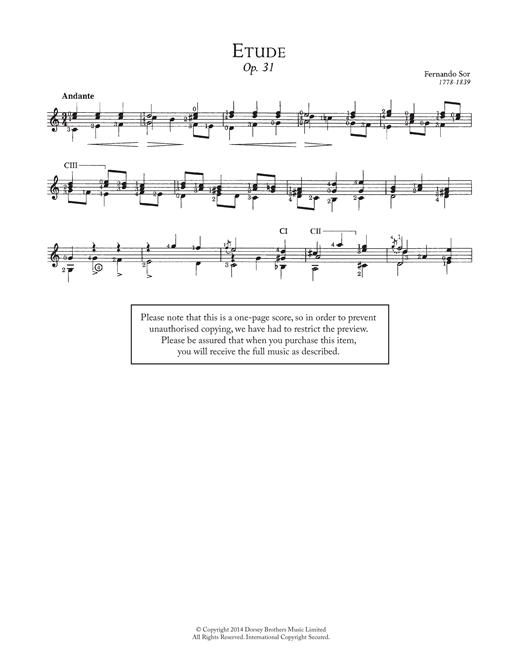 Fernando Sor Etude, Op.31 sheet music notes and chords