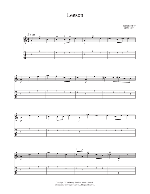 Fernando Sor Lesson sheet music notes and chords