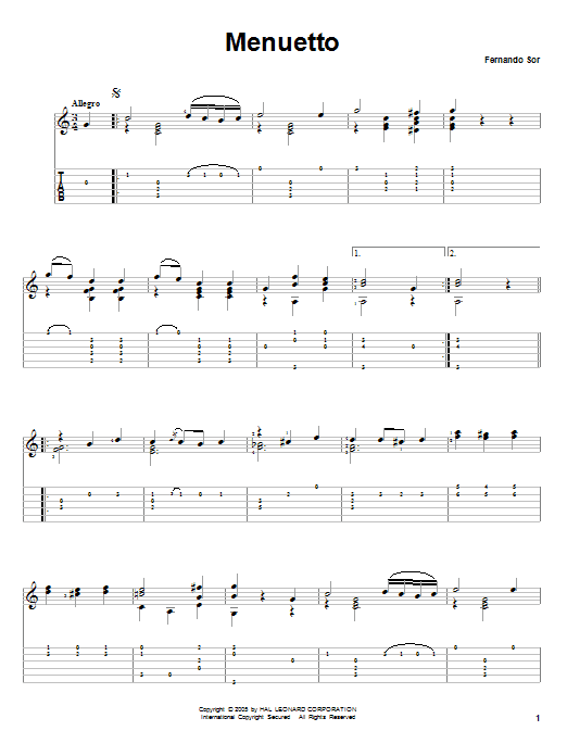 Fernando Sor Menuetto sheet music notes and chords. Download Printable PDF.